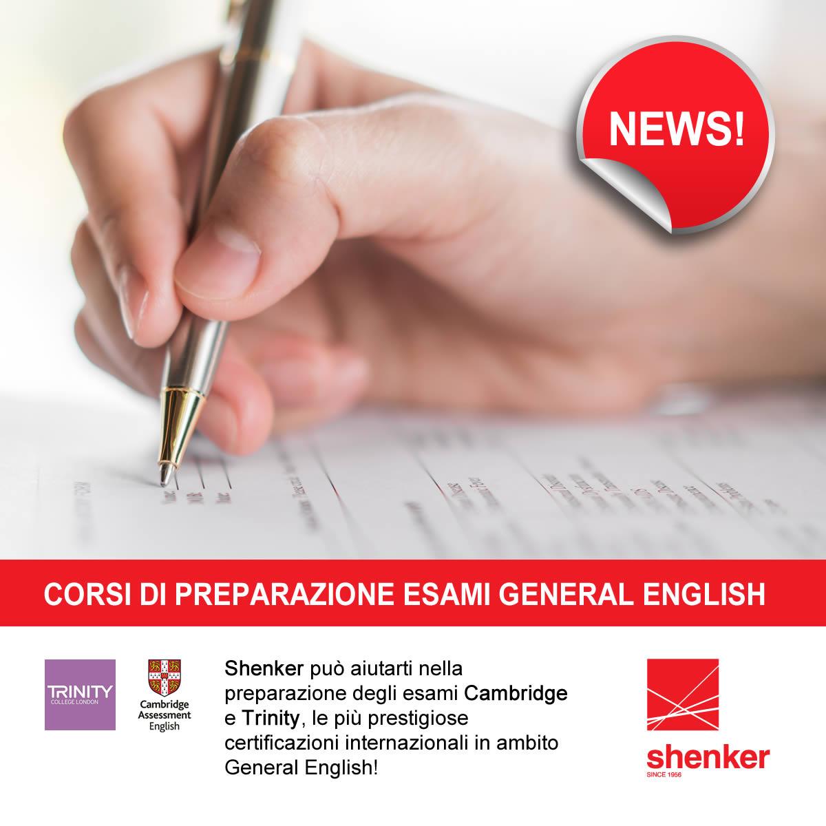 Corsi Shenker di preparazione esami General English